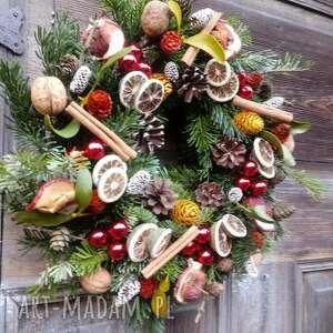 Wianek na drzwi lub stół dekoracje cynamonn wianek, natura