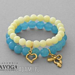cream & blue jade set - jadeit, serce