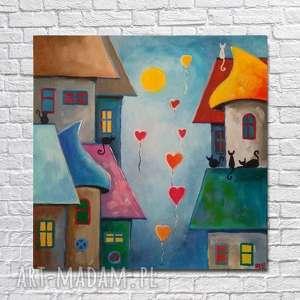 BAJKOWE MIASTECZKO - obraz akrylowy formatu 30/30 cm, akryl, miasteczko, obraz, koty