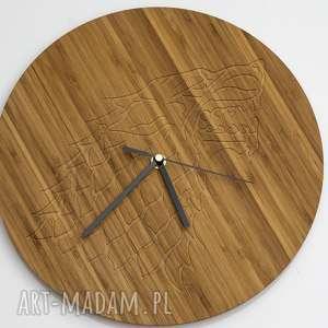 zegar drewniany wolf 100 drewno bambusowe, drewno, bambus, wilk