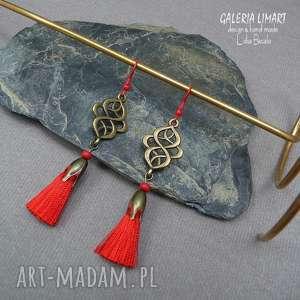 odlotowe kolczyki z czerwonym chwostem mosiądz w stylu boho, modne i urocze