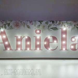 obraz led neon z imieniem roże kwiaty pastelowa dekoracja napis personalizowany