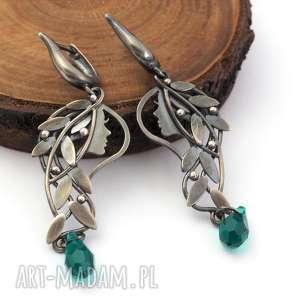 Srebrne kolczyki leśne driady z kryształkami Swarovskiego, driady, kolczyki, kobiece