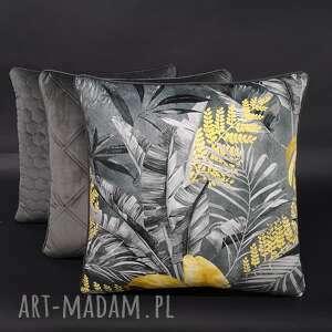 hand made poduszki komplet 3 poduszek liście szarość 45x45cm welur