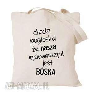 ręcznie wykonane torba z nadrukiem dla nauczycielki, wychowawczyni, prezent dzień
