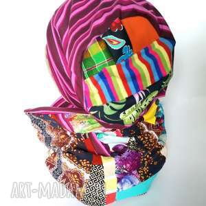 czapka damska i komin patchworkowy handmade wiosenny dzianinowy na rower,