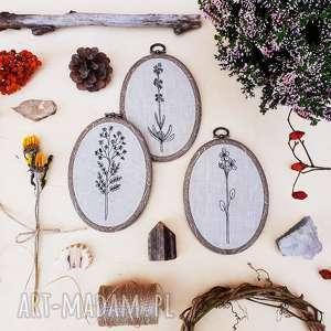 tryptyk botanical blooms - ,obrazki,dekoracja,haft,obrazek,tamborek,tryptyk,