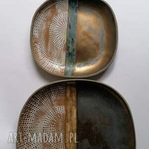 ręcznie zrobione ceramika komplet trzech talerzy etno
