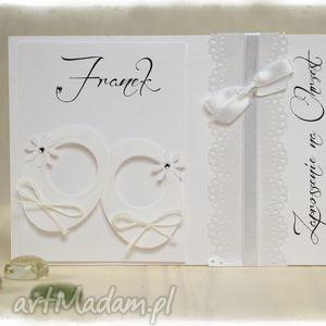 zaproszenie little shoes białe - zaproszenia na chrzest święty, zaproszenei, biały