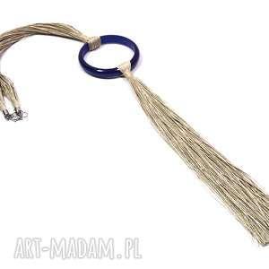 Naturalny naszyjnik lniany z niebieskim kołem naszyjniki pmpb