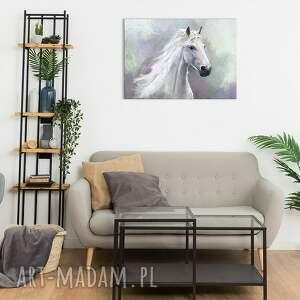 obraz - biały koń 100x70 wydruk na płótnie, obraz, płótno, koń, malowany