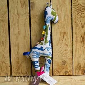 granatowa mięciutka żyrafka - minky z bawełną, żyrafa, minky, bawełna, prezent