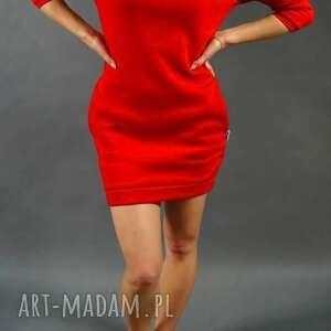 sukienki dresówka czerwona, dresowa, sukienka, tunika, ciepła, kieszenie