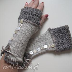 rękawiczki mitenki - rękawiczki, mitenki, weniane, dodatki, szare