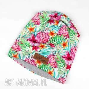kolorowa czapka ananasy unisex, czapka, beanie, kolorowa, ananas, kwiaty, unisex