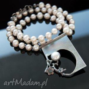 a540 Perłowy księżyc naszyjnik srebny, naszyjniki, perły, srebro, zawieszki