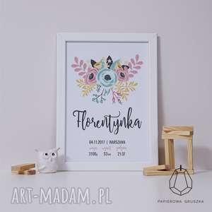 metryczka kwiety ii - metryczka, plakat, obrazek, prezent, urodziny, chrzest