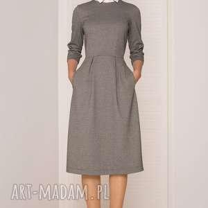 SUKIENKA MIDI W PEPITKĘ, sukienka, elegancka, wygodna, midi, pepitka, uniwersalna