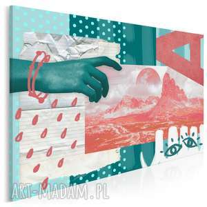 obraz na płótnie - ręka krajobraz abstrakcja 120x80 cm 65501, dłoń