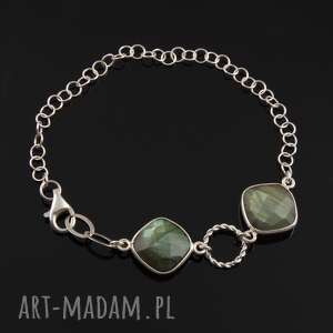 bransoletka z labradorytu 4 - srebrne bransoletki łańcuszek, srebrna