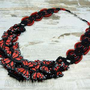 Wieczorowy, elegancki naszyjnik z motylami - czerwono czarny, motyle