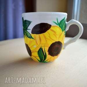 kubki kubek w słoneczniki ręcznie malowany 300 ml, słoneczniki, kwiaty