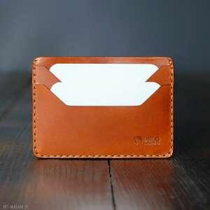Męski portfel skórzany brązowy mini na karty portfele