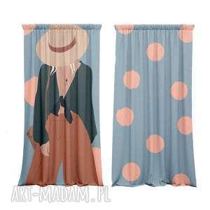 zasłony kotary bawełniane 2 szt z nadrukiem women, zasłony, bawęłniane