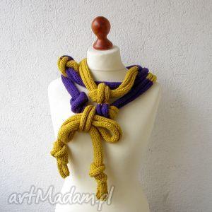 naszyjniki śliwka w musztardzie , szalik, naszyjnik, dodatek, akcesoria, moda, design