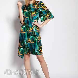 sukienka dopasowana, suk188 bambus, dopasowany dół, krótki rękaw