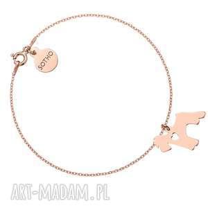 hand-made bransoletka z różowego złota z psem rasy sznaucer