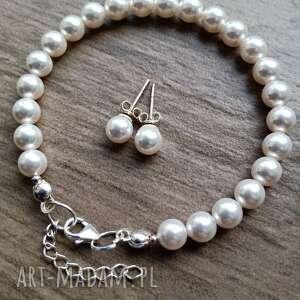 komplet ślubny w srebrze z perłami swarovskiego, komplet, ślubna