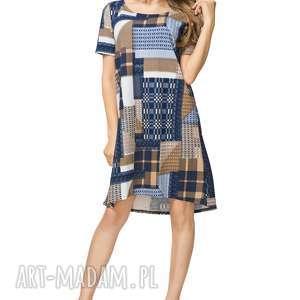 sukienka rozkloszowana t188, wzór patchwork, sukienka, rozkloszowana, rękaw, krótki
