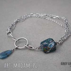 Bransoletka mini ze szkłem antycznym III, srebro, szkło, antyczne,