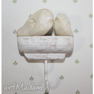 ręcznie robione ceramika wieszak z parą ptaszków na 1 haczyk