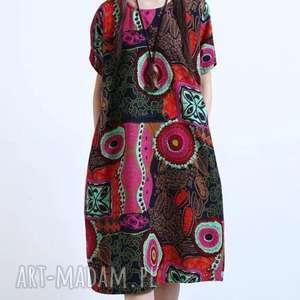 lniana sukienka w kwiaty, sukienka, bawełna, drukowana, len, kolorowa, etno, święta