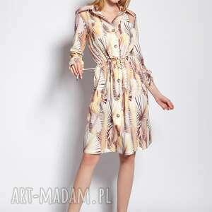 sukienka zapinana na guziki, suk184 abstrakcyjne liście, sukienka, wiązana