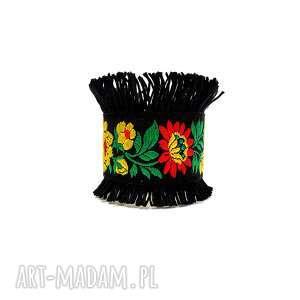 galeria nuit genevive - czarna bransoletka mankietowa, wieczorowa