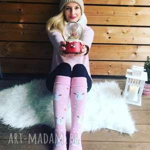 ciepłe skarpetki zimowe bałwanki różowe, prezent, pomysł, ciepłe, zimowe, fajne