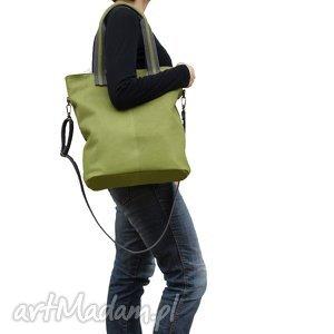 Prezent fajna zielona torba z naturalnej skóry matowej, torba, torebka, skórzana