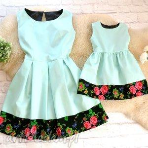 Góralska sukienka dla mamy i córki folk cleo MIĘTA, sukienka, mama, córka,