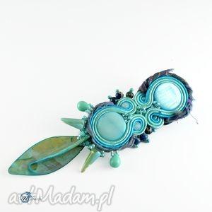 błękitna broszka w stylu tribal - boho, tribal, chic, sutasz, soutache