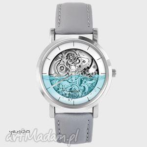 Prezent Zegarek - Wodny steampunk szary, skórzany, zegarek, bransoletka