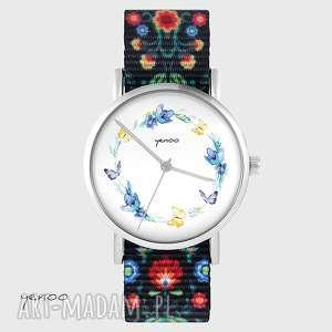zegarek - wianek, motyle folk czarny, nato, zegarek, bransoletka, wianek