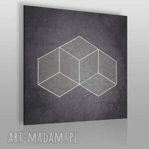 obraz na płótnie - abstrakcja geometria 80x80 cm 05701, geometryczny, bryła