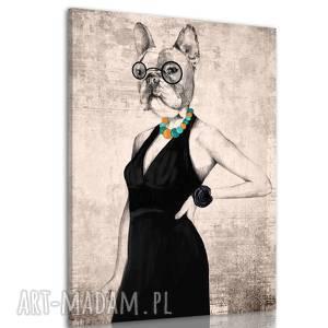 drukowany obraz z elegancką panią buldog 60x80cm 02306