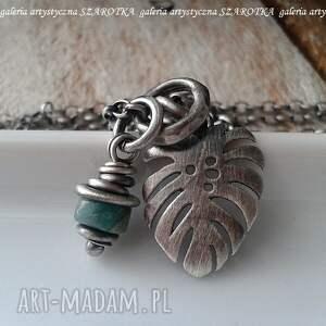 hand made naszyjniki monstera naszyjna naszyjnik ze szmaragdu i srebra