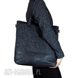 Prezent Duża torba szaro czarna, torba, torebka, torebka-do-pracy, torebka-na-weekend