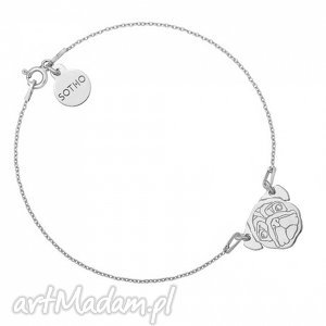 srebrna bransoletka z mopsem - zawieszka piesek, modna