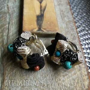 klipsy małe materiał kamienie boho etno koraliki, klipsy, etno, boho, folk